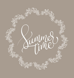 Summer time text in vingage round frame on brown vector