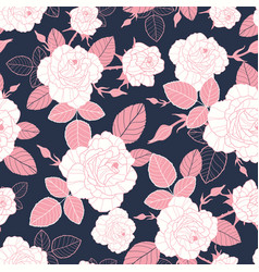 vintage pink and white roses and leaves on vector image