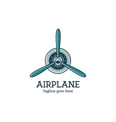 Airplane propeller logo template with radial vector