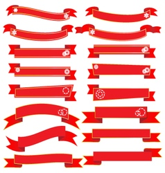 Red banner ribbon collection vector