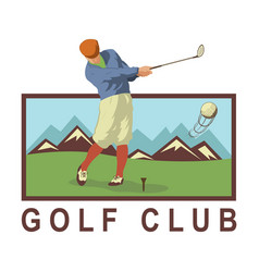 vintage golf poster with a golf player vector image