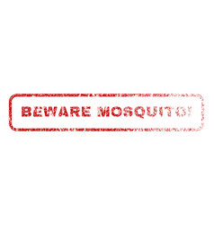 Beware mosquito exclamation rubber stamp vector