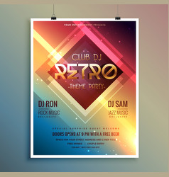 Retro club theme party flyer template vector