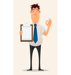 Business man cartoon character smiling vector