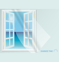 open window with light curtain view of sea vector image