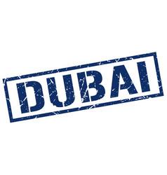 Dubai blue square stamp vector