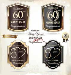 60 years anniversary labels vector