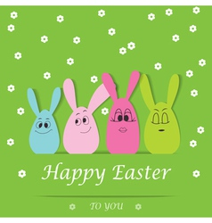 Happy easter bunny card vector
