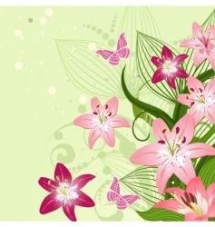 Lilies on an emerald background vector