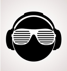 Men dj in headphone print vector