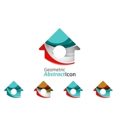 Set of abstract geometric company logo home house vector