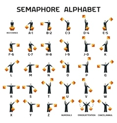Semaphore alphabet flags on a white background vector