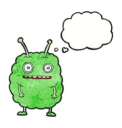 Cartoon funny alien monster with thought bubble vector