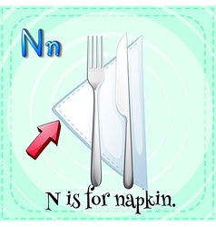 Flashcard alphabet n is for napkin vector
