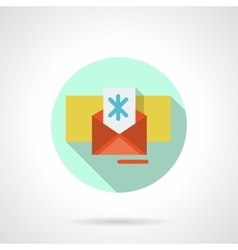 Christmas envelope flat color icon vector