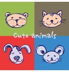 Set cute animals vector image