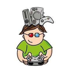 Gamer playin video game isolated icon design vector