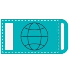 Ticket with earth globe diagram icon vector