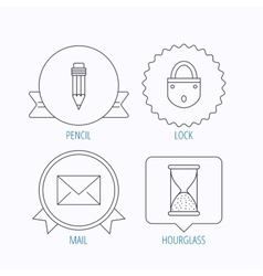 Mail envelope pencil and lock icons vector