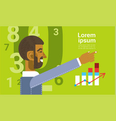 arab business man showing finance chart graph vector image