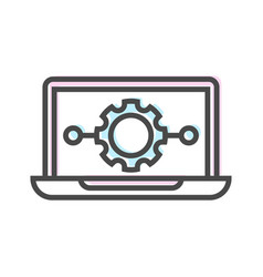 Artificial intelligence icon with laptop symbol vector