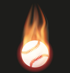 Baseball ball with flame vector