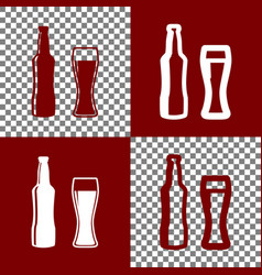 Beer bottle sign bordo and white icons vector