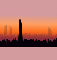 Building hotel on dubai scenery silhouettes vector