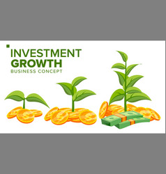 business growth concept plant from money vector image vector image