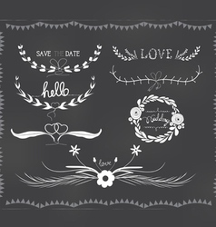Chalkboard wedding florals vintage set vector