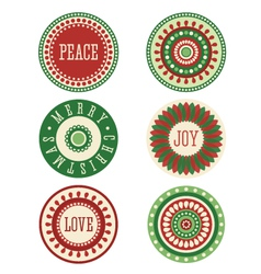 Christmas stickers labels tags vector