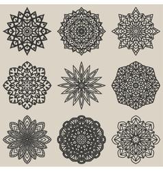 circular floral pattern set vector image