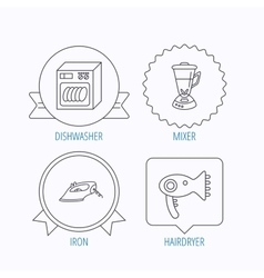 Dishwasher hairdryer and mixer icons vector image vector image