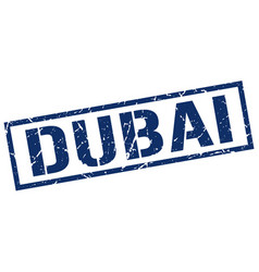 Dubai blue square stamp vector