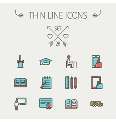 Education thin line icon set vector image vector image