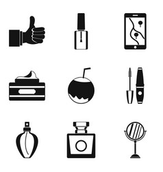 Essence icons set simple style vector