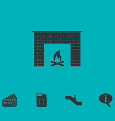 Fireplace icon flat vector