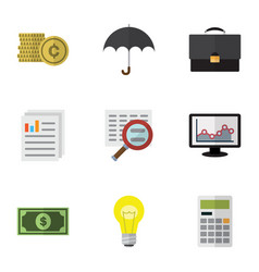 Flat icon finance set of document portfolio vector