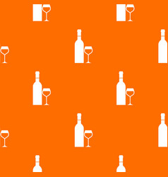 glass and bottle of wine pattern seamless vector image vector image