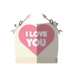 Greeting i love you heart arrow ribbon shadow vector
