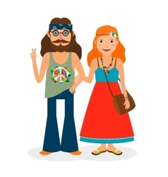 Hippie girl and man icons vector image