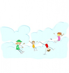 kids playing on cloud vector image
