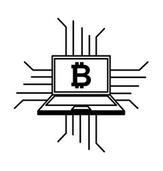 Laptop computer with bitcoin vector