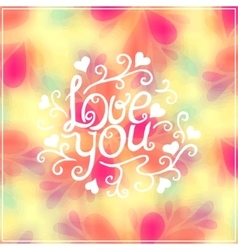Love you lettering with floral ornament vector image