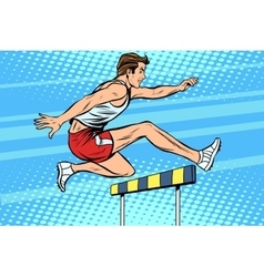 Man running hurdles athletics vector