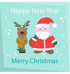 new year and happy christmas card santa claus and vector image vector image