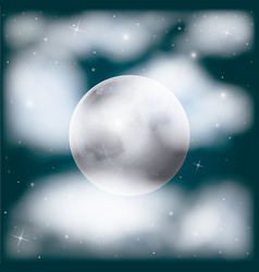 Nightly sky scene background with moon and vector