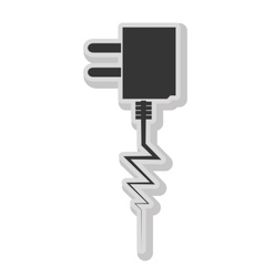 Plug and wire isolated flat icon in blackand white vector