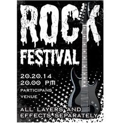 Rock festival design template with guitar vector