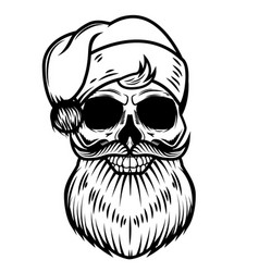 santa claus skull isolated on white background vector image vector image